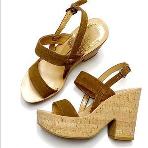 Dolce Vita Rosa brown suede cork platform sandals